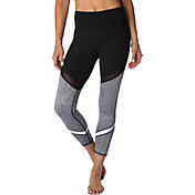 Betsey Johnson Performance Women's Jacquard Mesh Colorblock Ankle Leggings