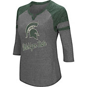 Colosseum Women's Michigan State Spartans Grey Three-Quarter Sleeve Tri-Blend T-Shirt
