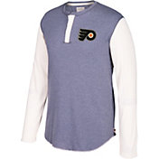 CCM Men's Philadelphia Flyers Henley Heather Grey Long Sleeve Shirt