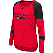 Colosseum Women's Georgia Bulldogs Red Routine Raglan Long Sleeve T-Shirt