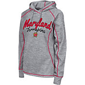 Colosseum Women's Maryland Terrapins Grey Crossneck Pullover Hoodie