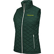 Colosseum Women's Oregon Ducks Green Elite Quilted Full-Zip Vest