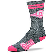 For Bare Feet Los Angeles Rams Women's 2-Stripe Melange Crew Socks