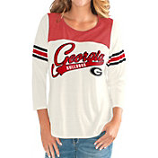 G-III For Her Women's Georgia Bulldogs White Endzone Three-Quarter Sleeve T-Shirt