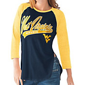 G-III For Her West Virginia Mountaineers Blue/Gold Halftime Three-Quarter Raglan T-Shirt