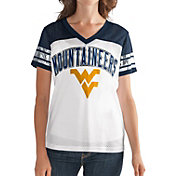 G-III For Her Women's West Virginia Mountaineers White/Blue Free Agent V-Neck T-Shirt