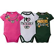 Gerber Infant Girl's Green Bay Packers 3-Piece Onesie Set
