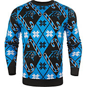 KLEW Men's Carolina Panthers Candy Cane Ugly Sweater