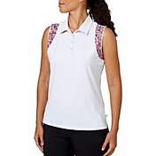Lady Hagen Women's Cape May Collection Printed Racerback Sleeveless Golf Polo