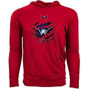 Levelwear Men's Washington Capitals Ripped Red Long Sleeve Hoodie T-Shirt