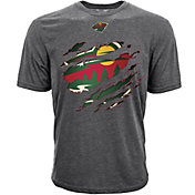 Levelwear Youth Minnesota Wild Ripped Logo Charcoal T-Shirt