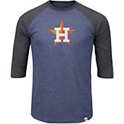 Majestic Men's Houston Astros Navy/Grey Raglan Three-Quarter Sleeve Shirt