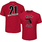 Majestic Men's Miami Heat Hassan Whiteside #21 Red T-Shirt