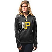 Majestic Women's Pittsburgh Pirates Therma Base On-Field Black Authentic Collection Quarter-Zip Pullover