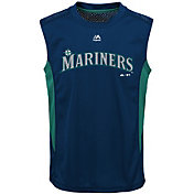 Majestic Youth Seattle Mariners Cool Base Foul Line Navy Performance Sleeveless Shirt