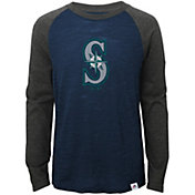Majestic Youth Seattle Mariners Navy/Grey Raglan Three-Quarter Sleeve Shirt