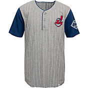 Majestic Youth Cleveland Indians Grey/Navy Henley T-Shirt