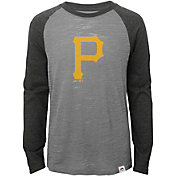 Majestic Youth Pittsburgh Pirates Grey/Grey Raglan Three-Quarter Sleeve Shirt