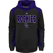Majestic Youth Colorado Rockies Therma Base Geo Fuse Black Hooded Fleece