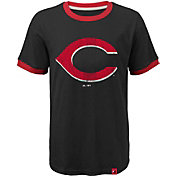 Majestic Youth Cincinnati Reds Ringer Black T-Shirt