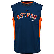 Majestic Youth Houston Astros Cool Base Foul Line Navy Performance Sleeveless Shirt