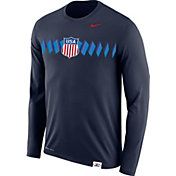 Nike Men's USA Hockey Legion Crest Navy Long Sleeve Shirt