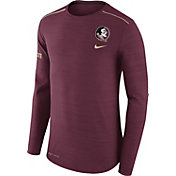Nike Men's Florida State Seminoles Heathered Garnet Player Football Sideline Long Sleeve Shirt