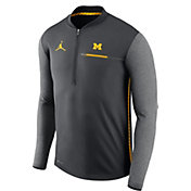 Jordan Men's Michigan Wolverines Anthracite Coach Half-Zip Football Sideline Jacket