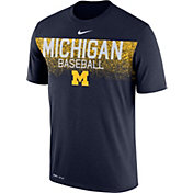Nike Men's Michigan Wolverines Blue Dri-Fit Team Issue Performance Baseball T-Shirt