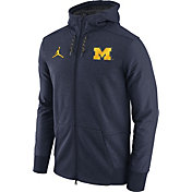 Jordan Men's Michigan Wolverines Heathered Blue Football Travel Full-Zip Hoodie