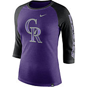Nike Women's Colorado Rockies Raglan Tri-Blend Three-Quarter Sleeve Shirt