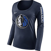 Nike Women's Dallas Mavericks Dri-FIT Navy Logo Long Sleeve Shirt