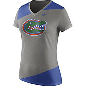 Nike Women's Florida Gators Grey/Blue Champ Drive Football Dri-Blend V-Neck T-Shirt
