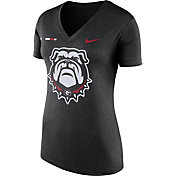 Nike Women's Georgia Bulldogs Black Stripe Bar V-Neck T-Shirt