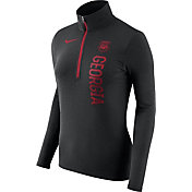 Nike Women's Georgia Bulldogs Heathered Black Element Half-Zip Shirt