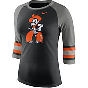 Nike Women's Oklahoma State Cowboys Black/Grey Stripe Sleeve Three-Quarter Raglan Shirt