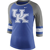 Nike Women's Kentucky Wildcats Blue/Grey Stripe Sleeve Three-Quarter Raglan Shirt
