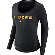 Nike Women's LSU Tigers Heathered Black Slub Dri-FIT Long Sleeve Shirt