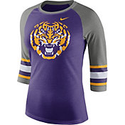 Nike Women's LSU Tigers Purple/Grey Stripe Sleeve Three-Quarter Raglan Shirt