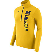 Nike Women's Michigan Wolverines Heathered Maize Element Half-Zip Shirt
