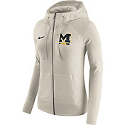 Nike Women's Michigan Wolverines Heathered Oatmeal Gym Vintage Full-Zip Hoodie