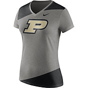 Nike Women's Purdue Boilermakers Grey/Black Champ Drive Football Dri-Blend V-Neck T-Shirt
