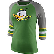 Nike Women's Oregon Ducks Apple Green/Grey Stripe Sleeve Three-Quarter Raglan Shirt