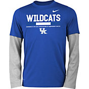 Nike Youth Kentucky Wildcats Blue/Grey Football Sideline Staff 2-Fer Legend Long Sleeve Shirt