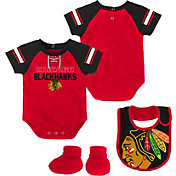 NHL Infant Chicago Blackhawks Little D-Man Red/Black Onesie Set