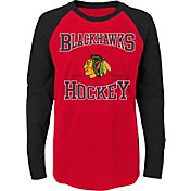 NHL Youth Chicago Blackhawks Morning Skate Red/Black Raglan Long Sleeve Shirt