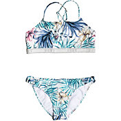 Roxy Girls' Blingbling Surf Crop Top Bikini Set