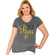 Soft As A Grape Women's Pittsburgh Pirates Tri-Blend Grey V-Neck T-Shirt