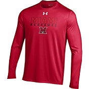 Under Armour Men's Miami RedHawks Red Long Sleeve Tech T-Shirt