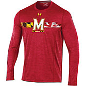 Under Armour Men's Maryland Terrapins Red Football Sideline Training Long Sleeve Shirt